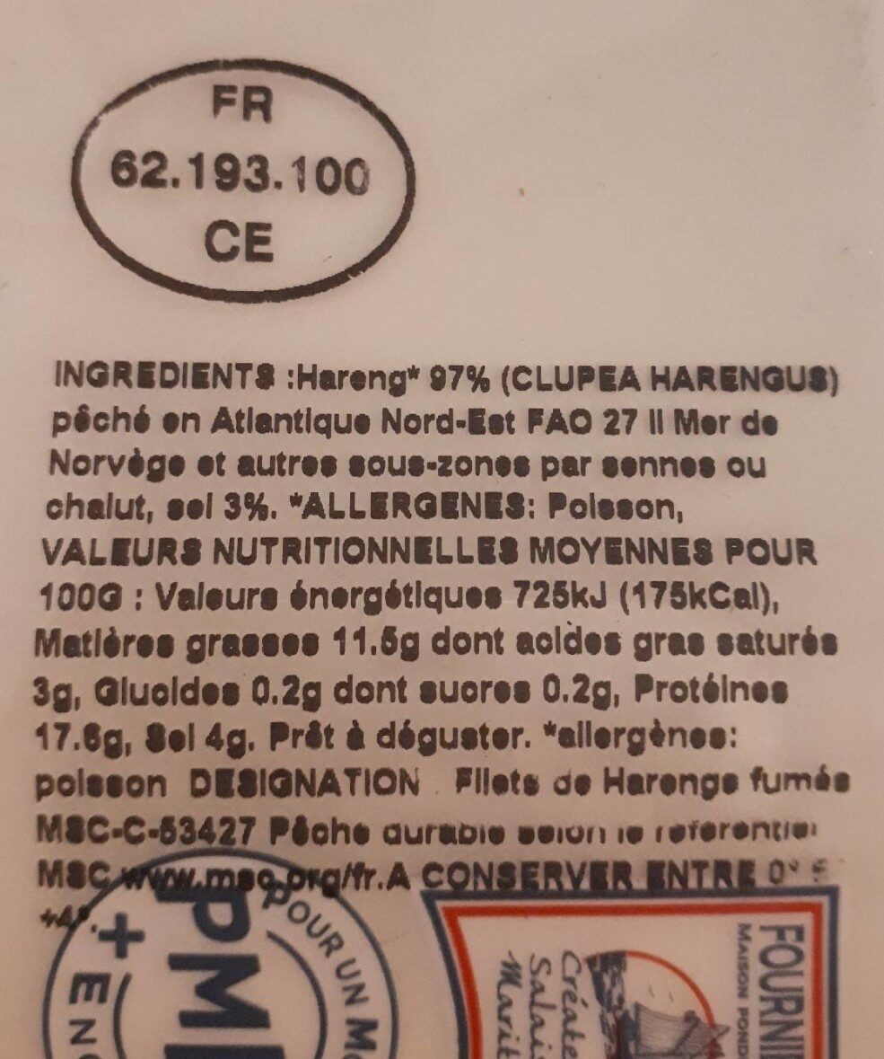 Filets de harengs fumés doux - Nutrition facts - fr