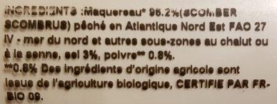 Filets de maquereaux fumés au poivre noir - Ingredients - fr