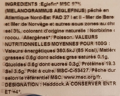 Filet de Haddock - Ingredients