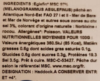 Filet de Haddock - Nutrition facts - fr