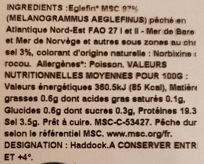 Filet de Haddock - Nutrition facts