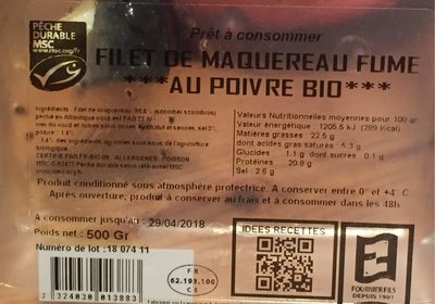Filet de maquereau fumé au poivre bio - 1