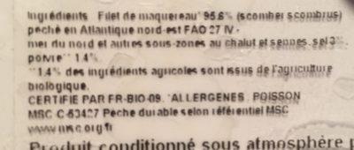 Filet de maquereau fumé au poivre bio - Ingredients - fr