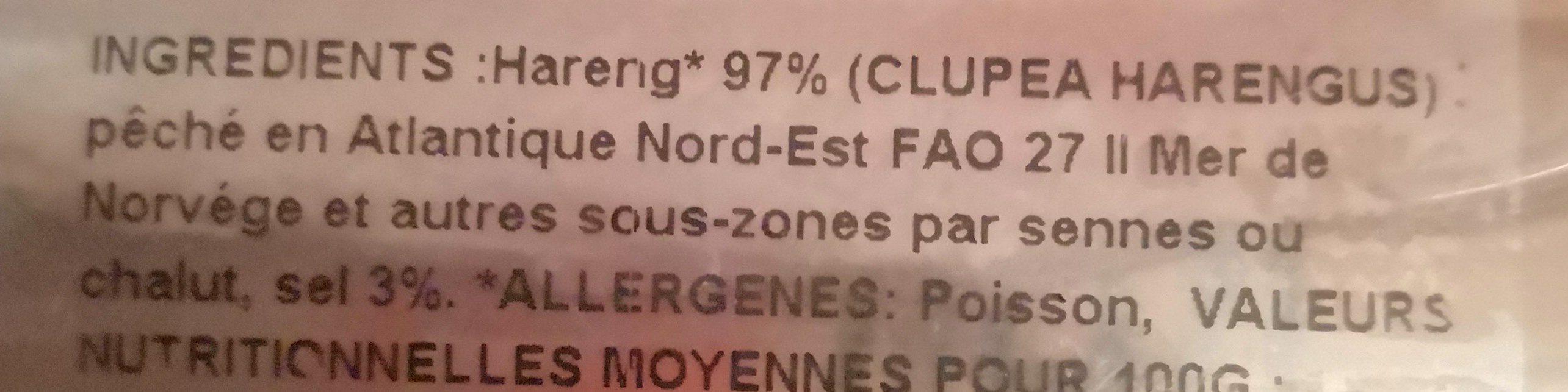 Filets de Hareng Doux Label Rouge - Ingrédients - fr
