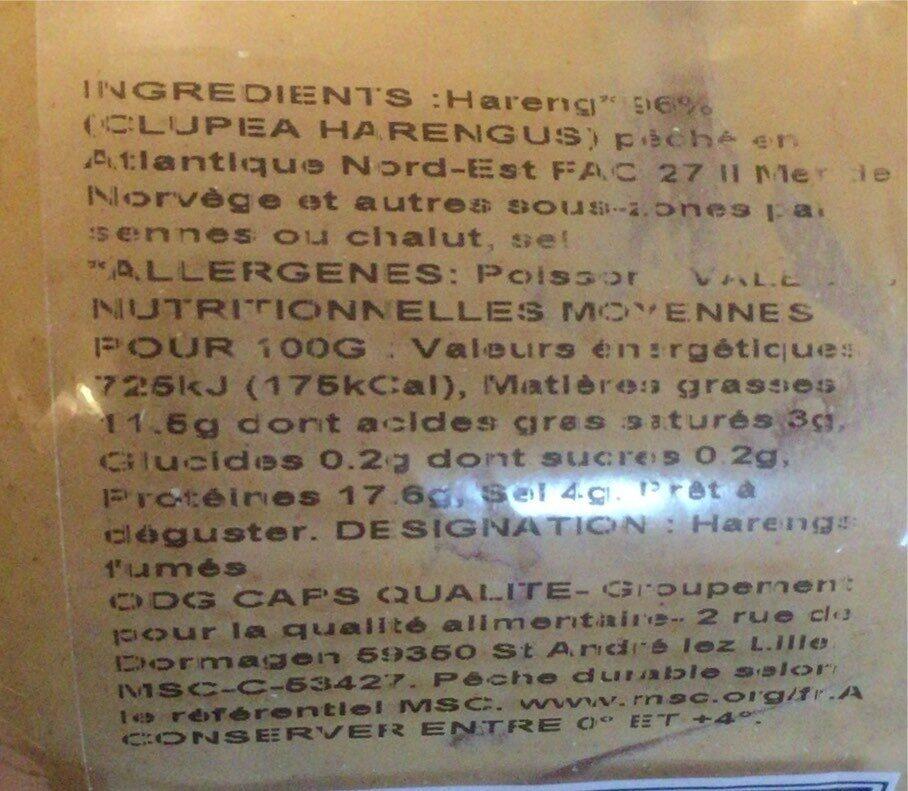 Filets de Hareng Doux Label Rouge - Informations nutritionnelles - fr