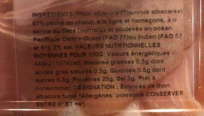 Eminces de Thon Albacore fume - Ingredienti - fr