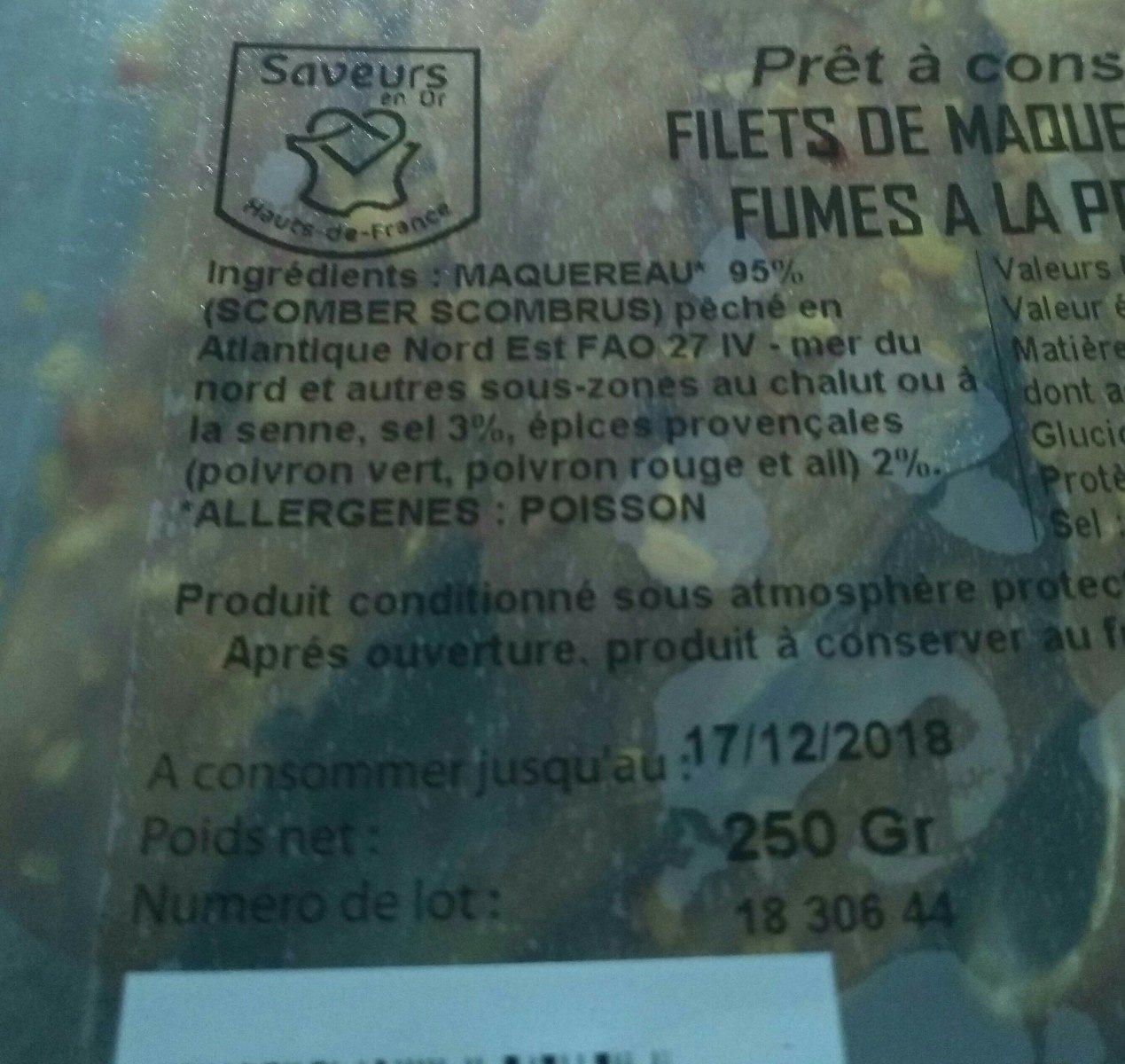 Filets de maquereau cuits fumes à la provençale - Ingredients - fr