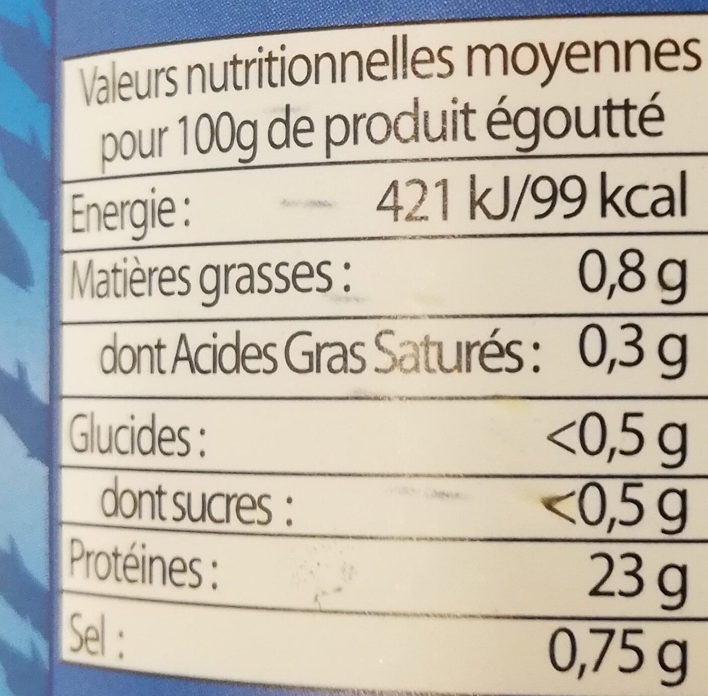 Thon entier au naturel - Informations nutritionnelles - fr