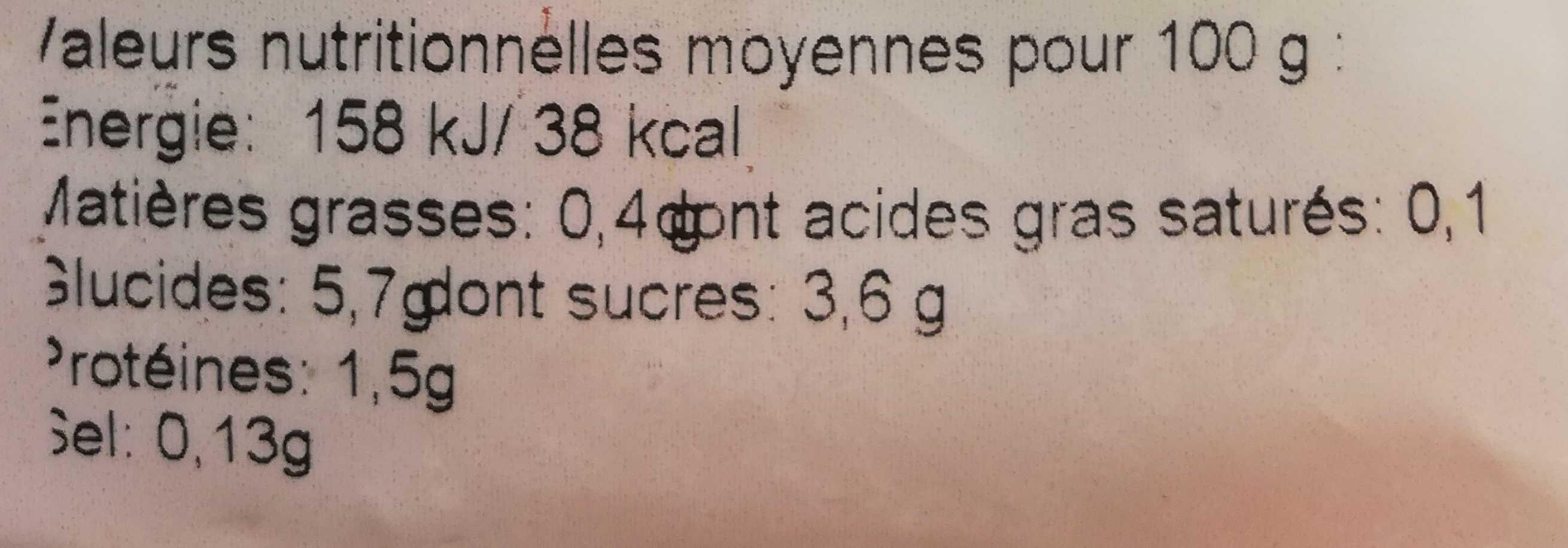 Mes Légumes Surgelés - Informations nutritionnelles - fr