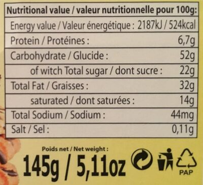 Cookies aus fruits secs nappés chocolat - Nutrition facts - fr