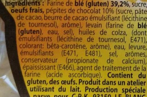 Petits Pains Briochés aux pépites de chocolat - Ingredients - fr