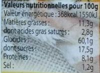 Petits Pains Briochés aux pépites de chocolat - Nutrition facts - fr