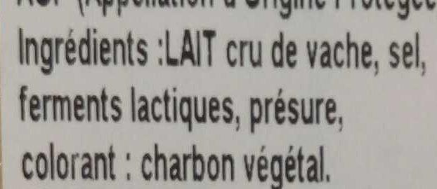 Morbier au lait cru (29 % MG) - Ingredients - fr