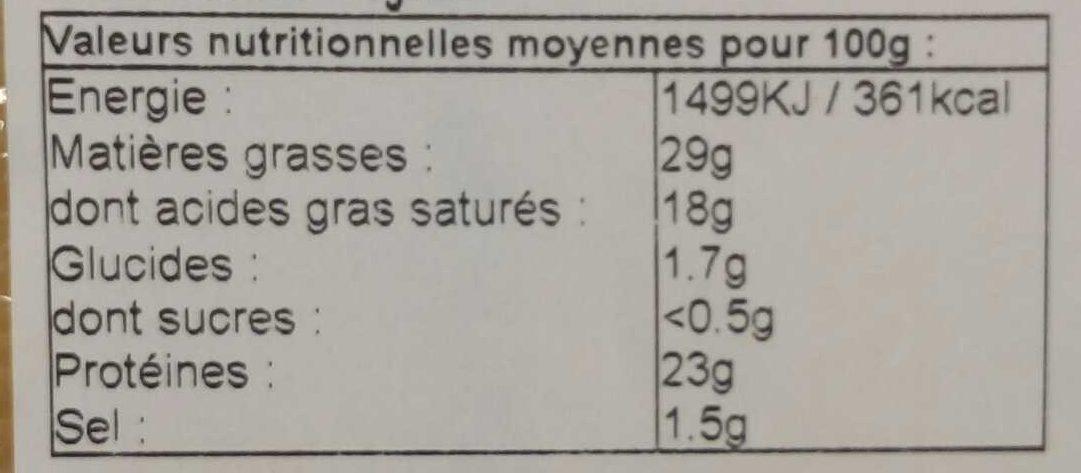 Morbier au lait cru (29 % MG) - Nutrition facts - fr