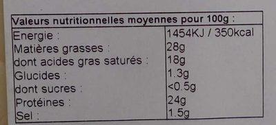 Assiette pour raclette trois saveurs - Informations nutritionnelles - fr