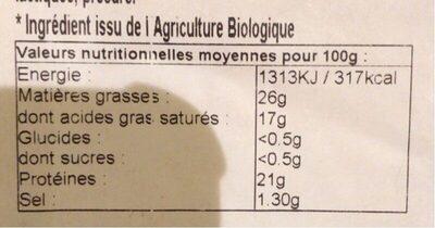 Tomme Bio - Informations nutritionnelles - fr