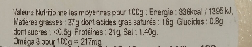 Apéro Snack-Salade Tomme jurassienne Pesto - Informations nutritionnelles