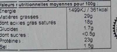 Morbier  au lait cru Grande tradition - Informations nutritionnelles - fr