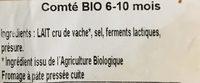 Comté au lait cru Aop BIO 6-10mois - Ingredients
