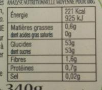 Confiture abricots aux amandes - Voedingswaarden - fr