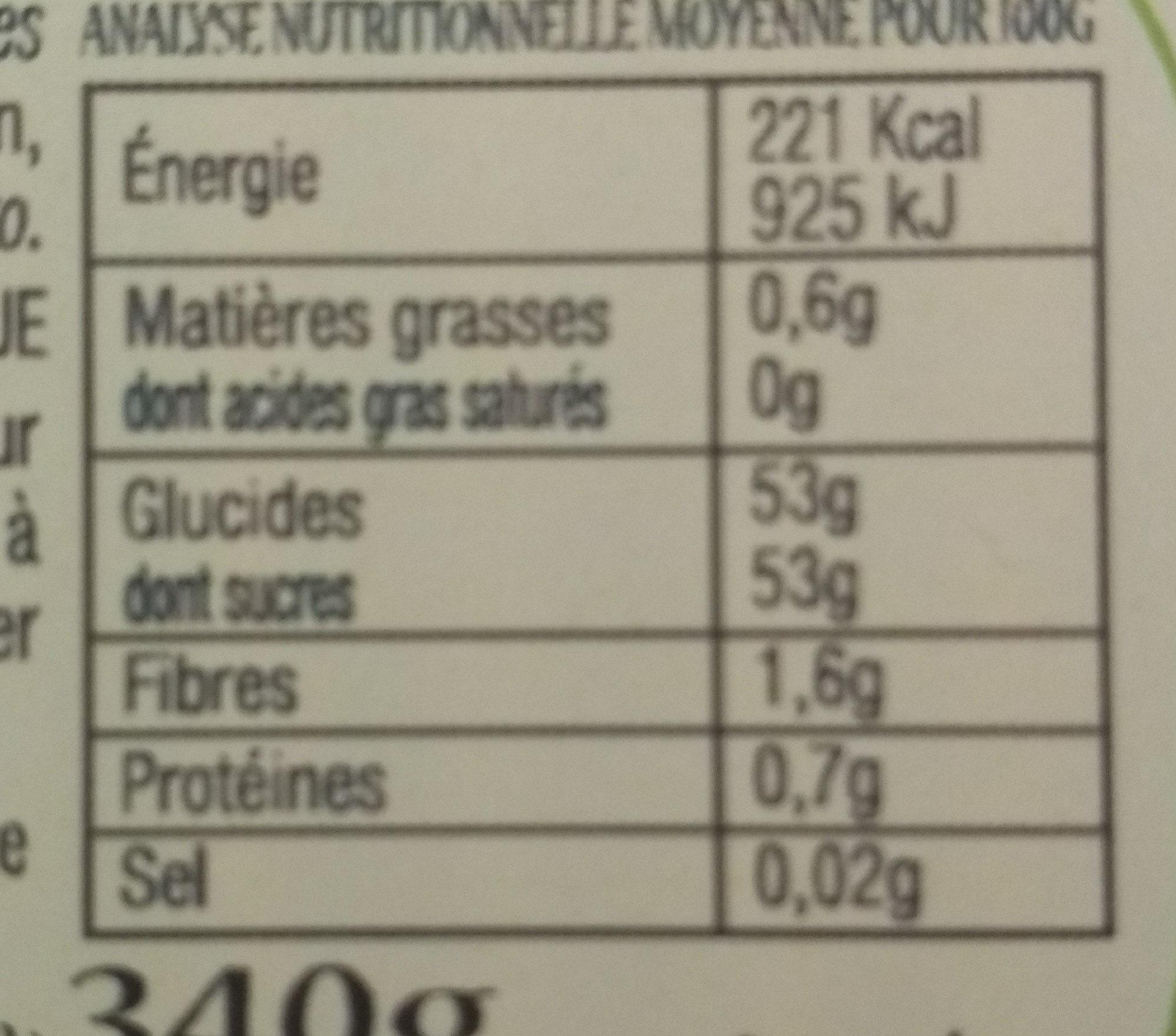Confiture abricots aux amandes - Informations nutritionnelles - fr