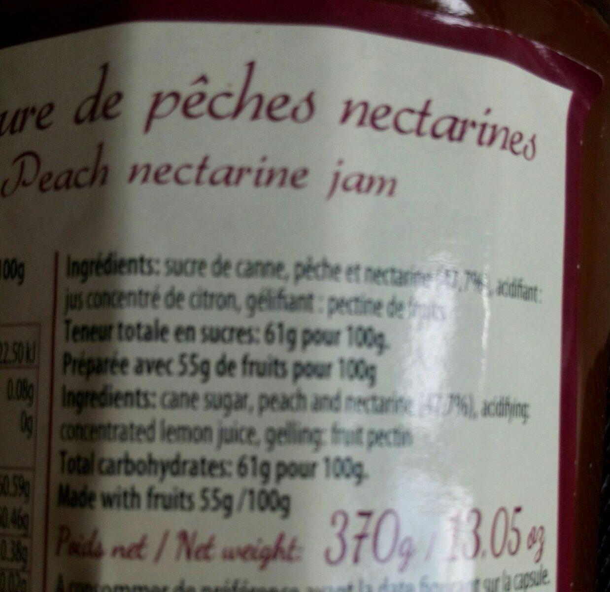 Confiture de pêches nectarines - Ingrédients