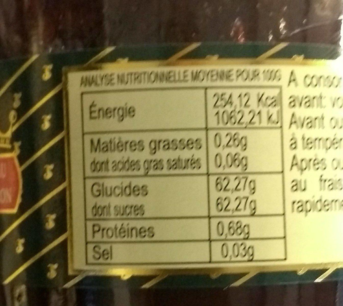 Confit de cerises noires - Voedingswaarden - fr