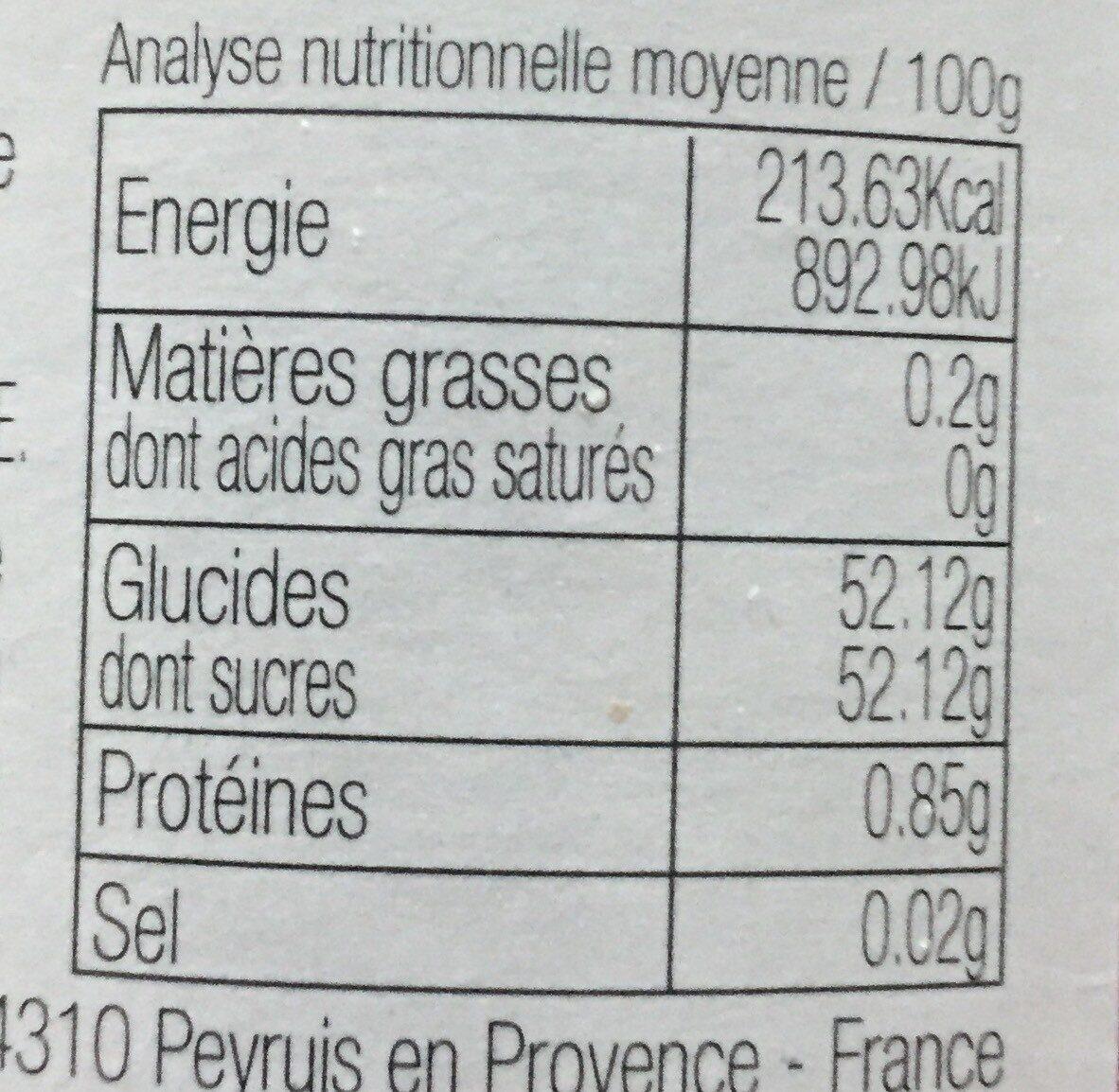 Confiture de Cassis - Voedingswaarden - fr