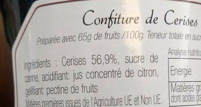 Confiture de Cerises noires - Ingrediënten - fr