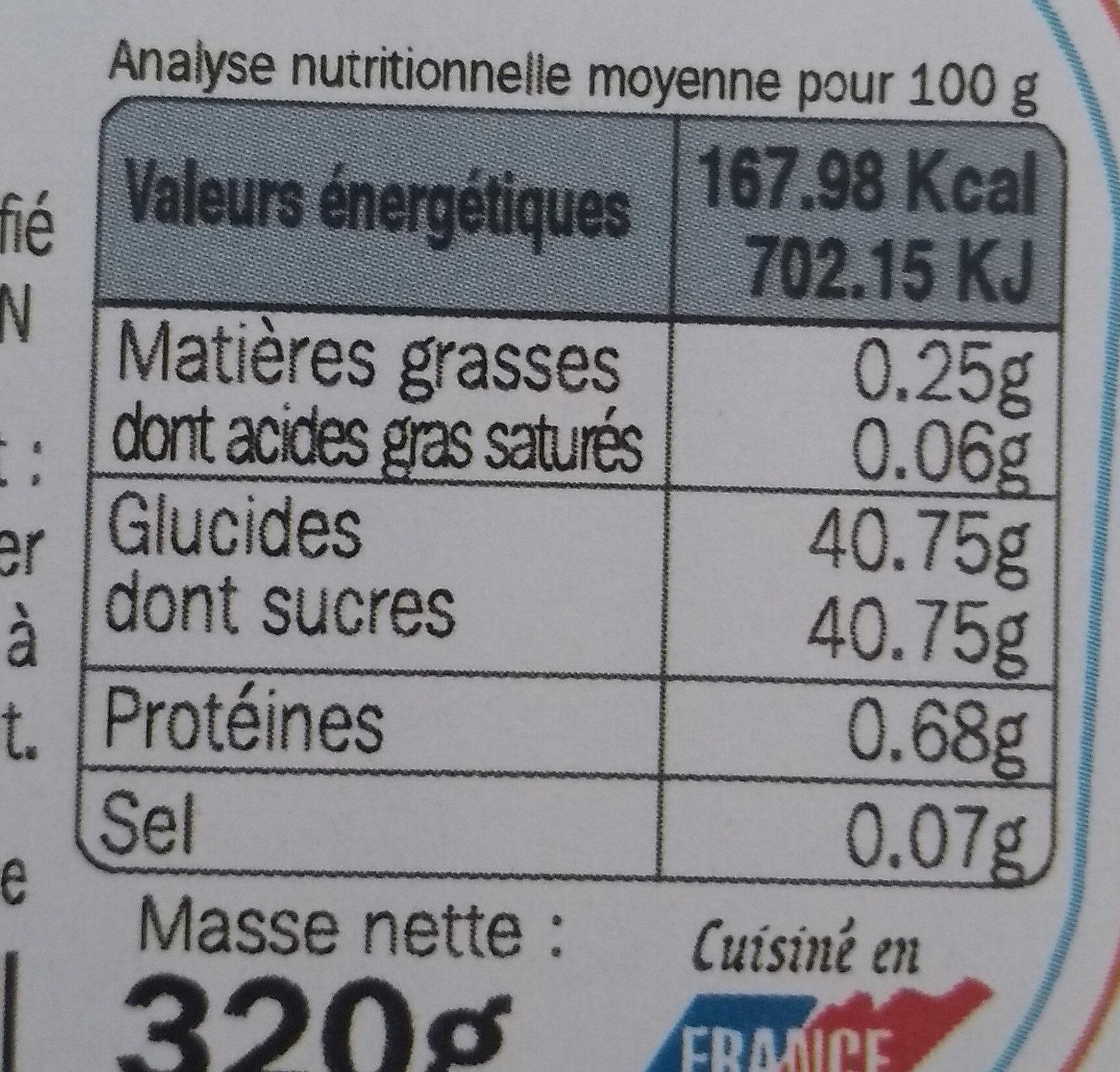Confiture allégée cerises - Voedingswaarden