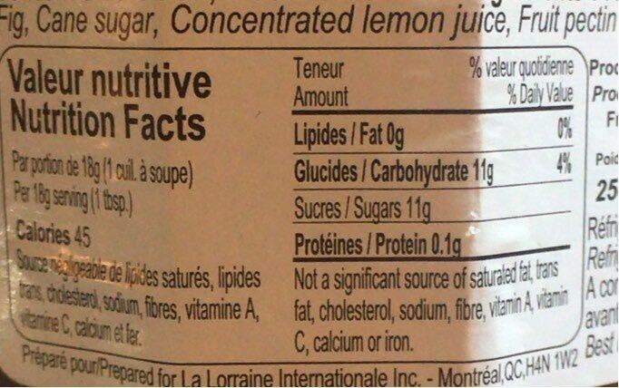 Confiture de figues rouges - Informations nutritionnelles - fr