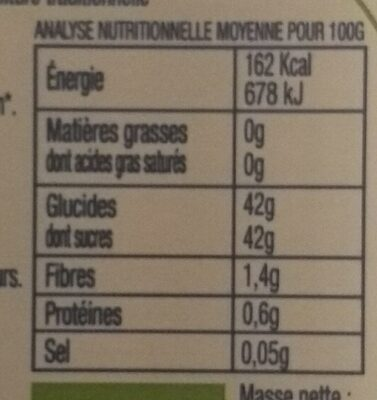 Confiture d'oranges bio - Nutrition facts - fr