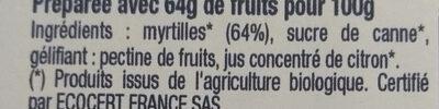 Confiture de Myrtille bio - Ingredients - fr