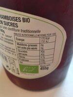 Confiture de framboises - Informations nutritionnelles