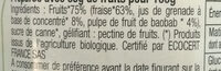 Confiture aux Superfruits Fraises, Grenade & Baobab BIO - Ingredients