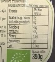 Confiture aux Superfruits Myrtille, Mûre & Acai - Nutrition facts