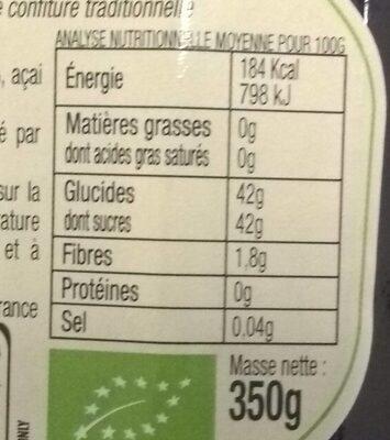 Confiture aux Superfruits Myrtille, Mûre & Acai - Voedingswaarden - fr