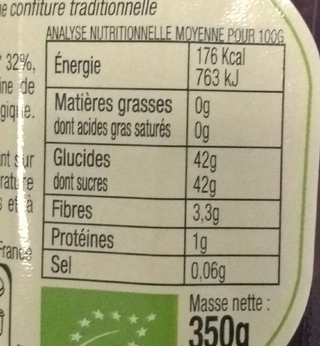 Confiture aux Superfruits Framboise, Griotte & Aronia - Nutrition facts