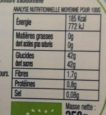 Confiture de Cerises BIO 350g - Informations nutritionnelles - fr