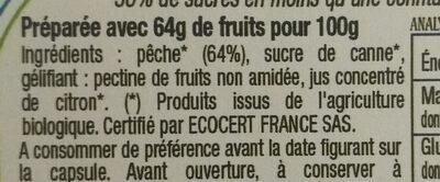 Confiture Peche Bio - Ingrediënten - fr
