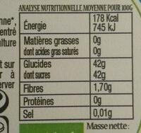 Confiture Peche Bio - Voedingswaarden - fr