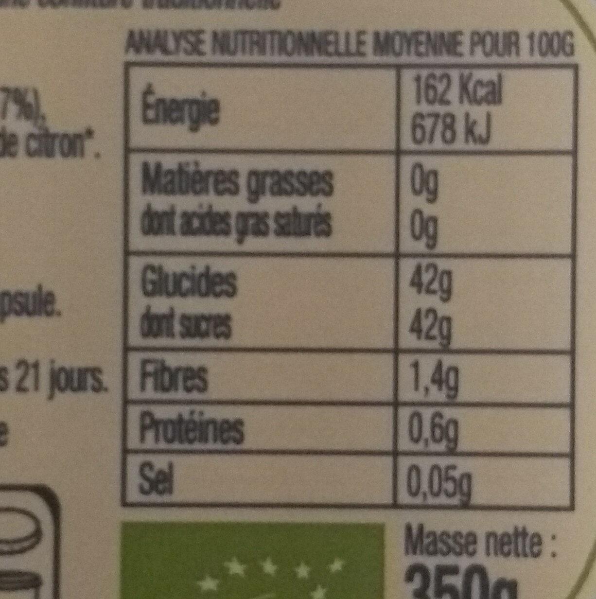 Confiture Orange Bio - Voedingswaarden