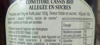 Confiture cassis bio - Ingrediënten - fr