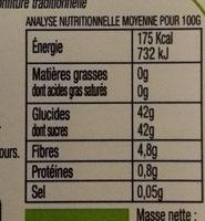 Confiture cassis bio - Voedingswaarden - fr