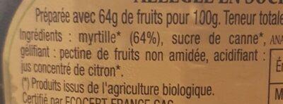 Confiture Myrtilles Bio - Ingredients