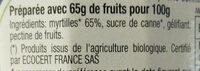 Confiture de Myrtille BIO 350g - Ingredienti - fr