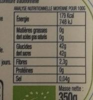 Confiture Myrtilles Bio - Nutrition facts