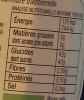 Confiture de Myrtille BIO 350g - Valori nutrizionali - fr
