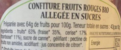 Confiture Fruits Rouges BIO - Ingrédients - fr