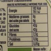 Confiture Fruits Rouges BIO - Informations nutritionnelles - fr